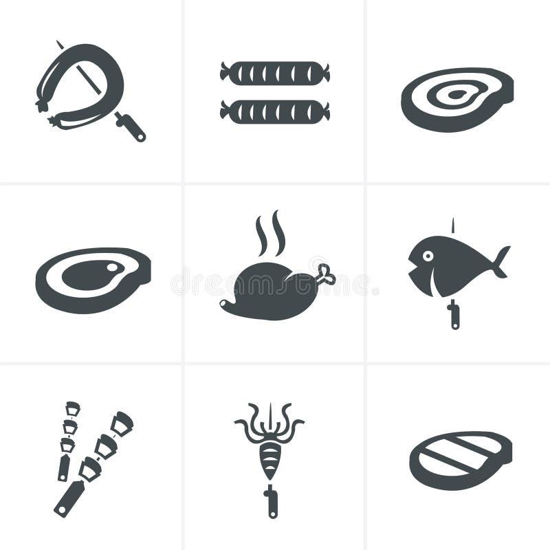 Grilla i grilla powiązane ikony ustawiać royalty ilustracja