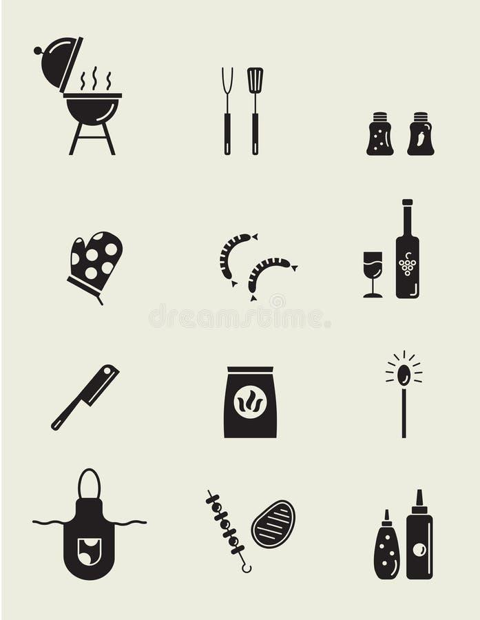 Grilla i grilla ikony inkasowe ilustracji