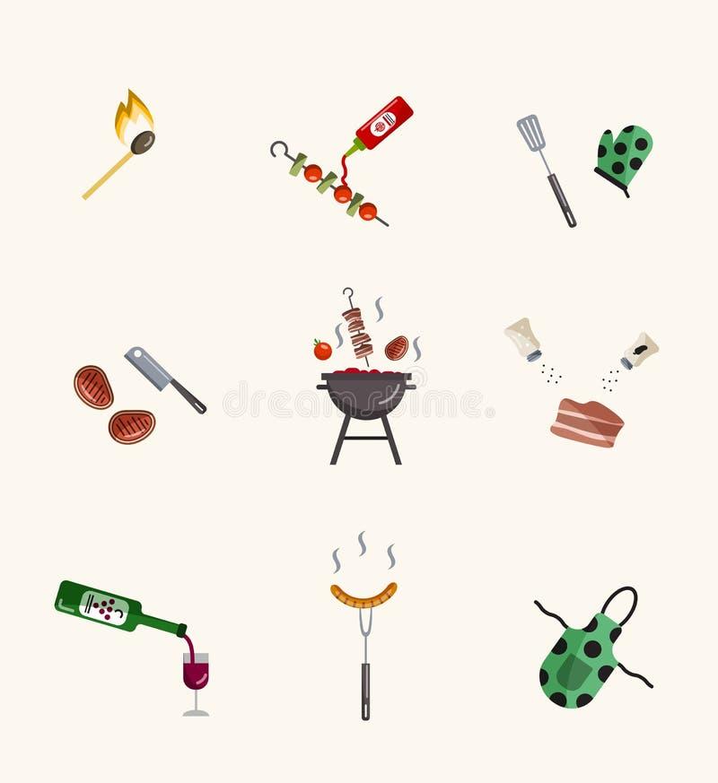 Grilla i grilla ikony inkasowe Ilustracja różni grilla kucharstwa atrybuty ilustracja wektor