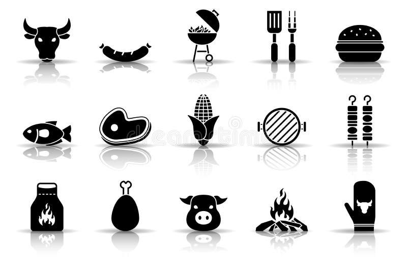 Grilla i grilla ikony set ilustracja wektor