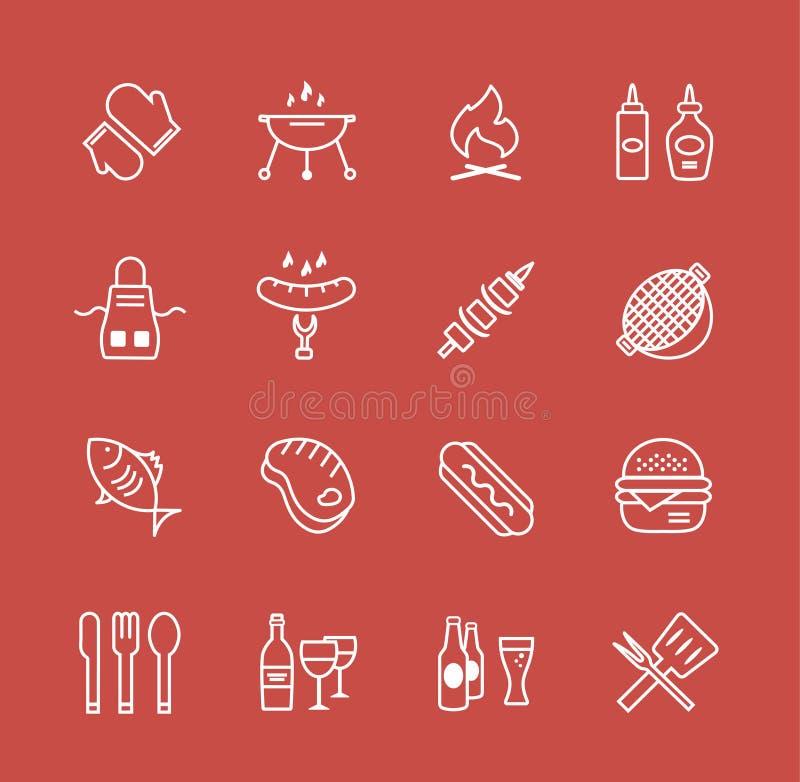 Grilla i jedzenia ikon wektoru przedmioty ustawiający ilustracji