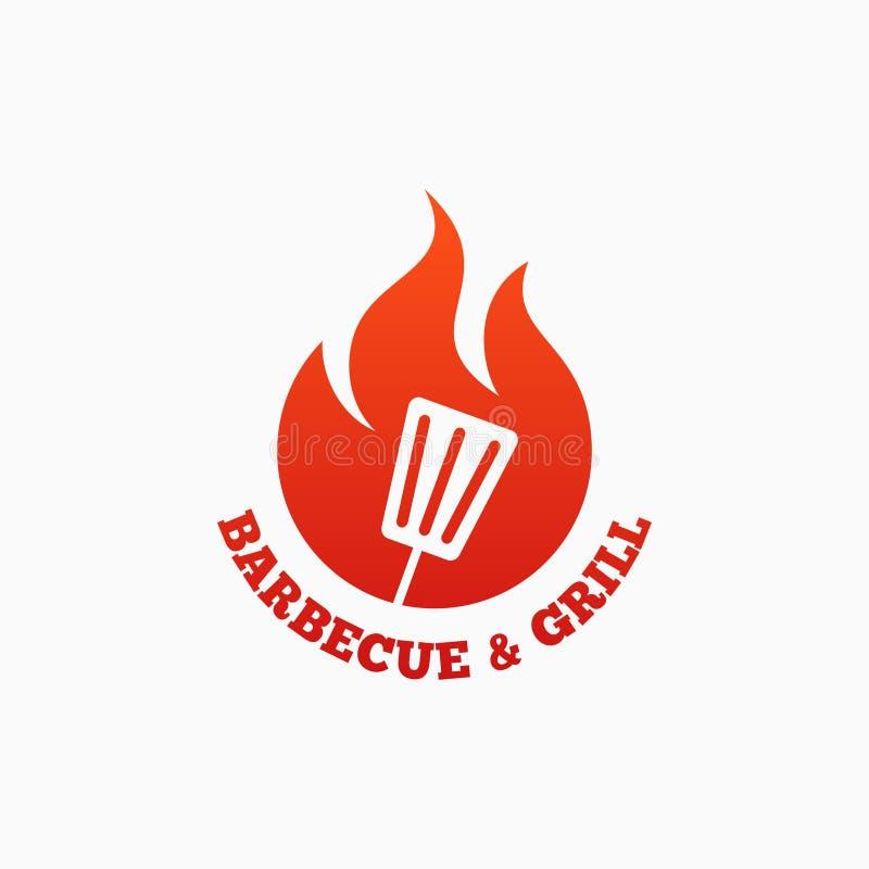 Grilla i grilla logo BBQ ogienia płomień na bielu royalty ilustracja