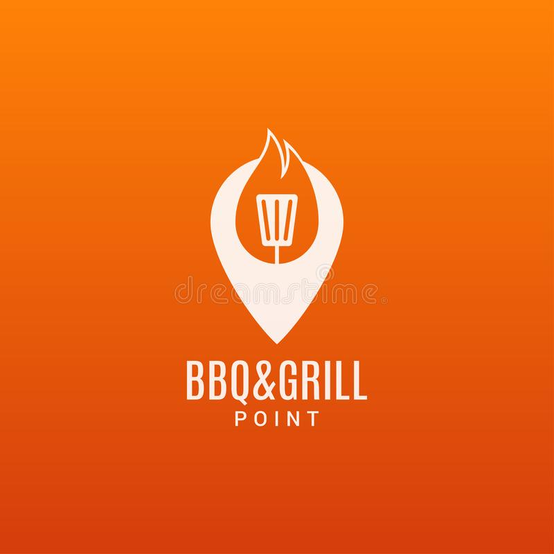 Grilla i grilla logo BBQ ogienia płomienia n ite ilustracji