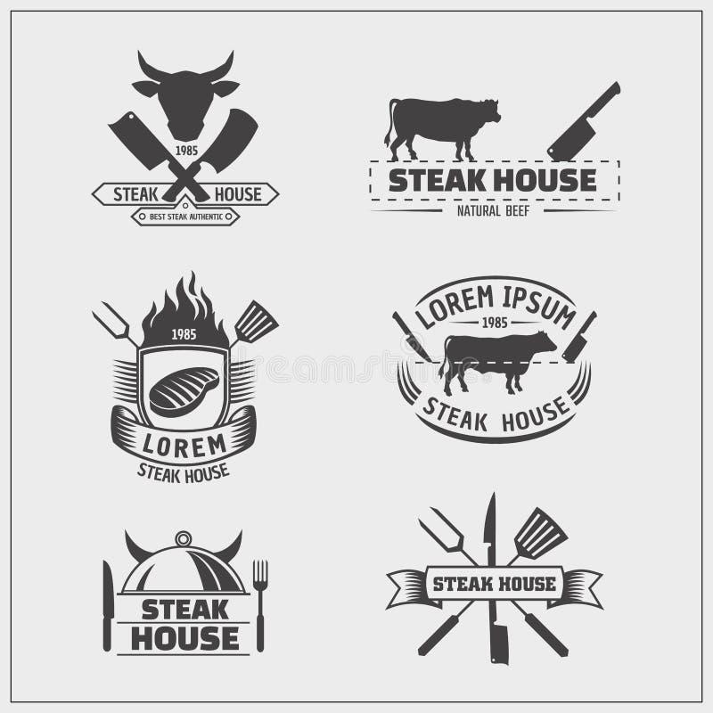 Grilla i grilla logowie etykietki, odznaki i projektów emblematy, royalty ilustracja