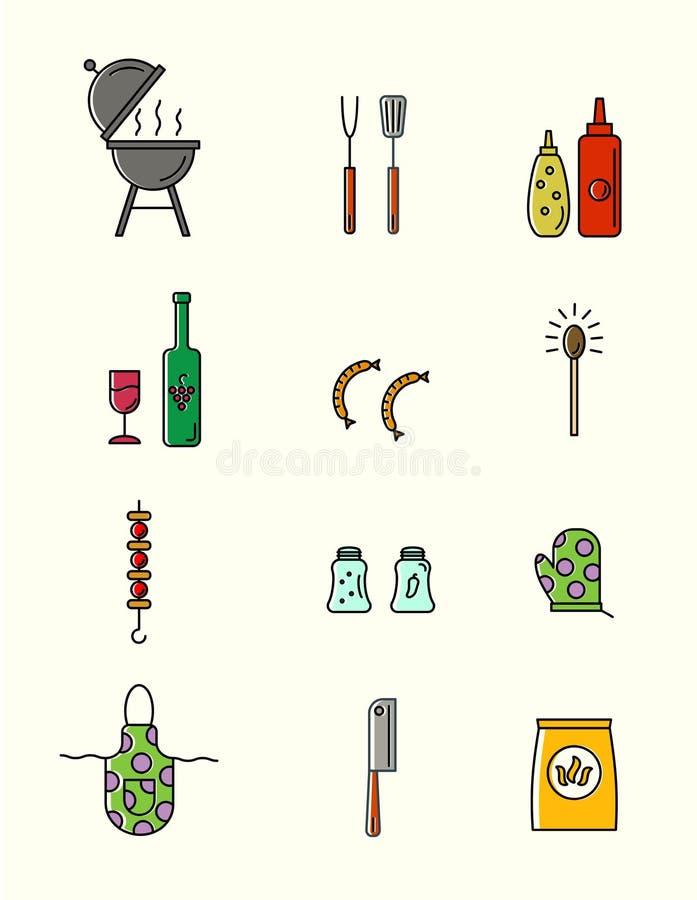 Grilla i grilla narzędzia ilustracja wektor