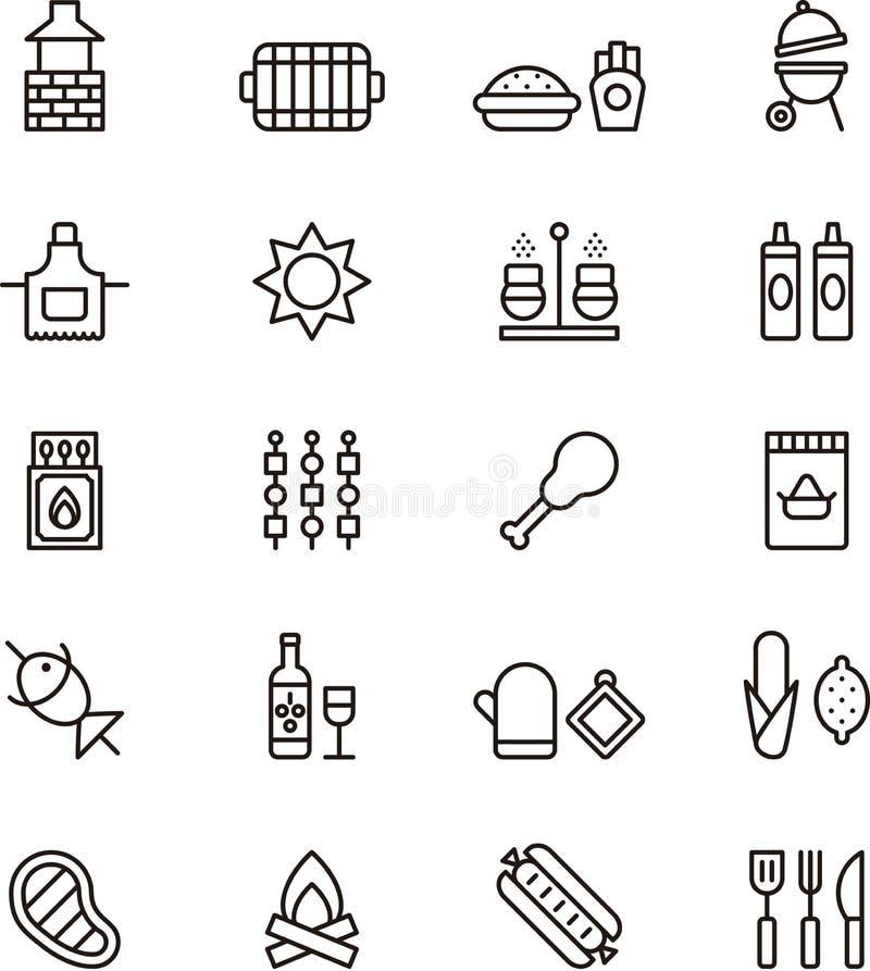 Grilla i pinkinu ikony ilustracji