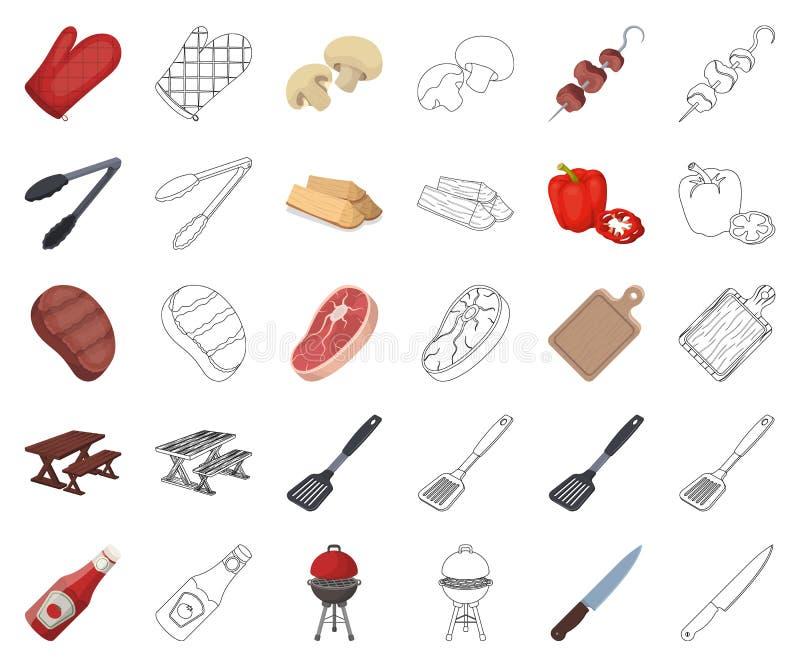 Grilla i wyposażenia kreskówka, kontur ikony w ustalonej kolekcji dla projekta Pykniczna i smażąca karmowa wektorowa symbolu zapa royalty ilustracja