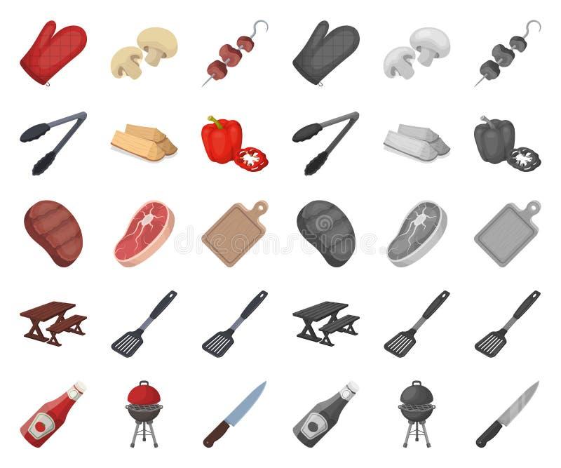 Grilla i wyposażenia kreskówka, mono ikony w ustalonej kolekcji dla projekta Pykniczna i smażąca karmowa wektorowa symbolu zapasu royalty ilustracja