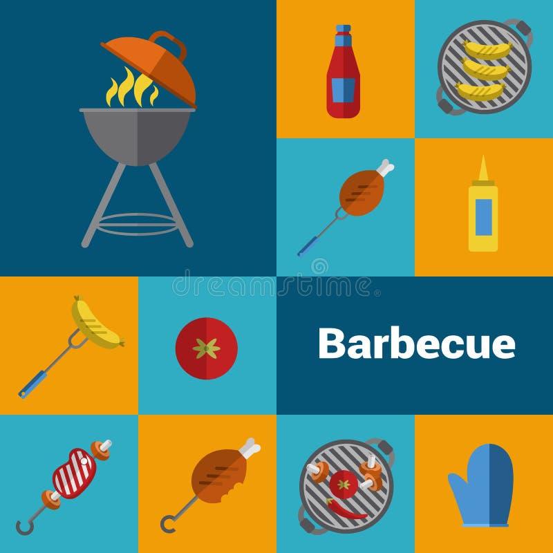 Grilla grilla ikony ustawiać BBQ pojęcie ilustracji