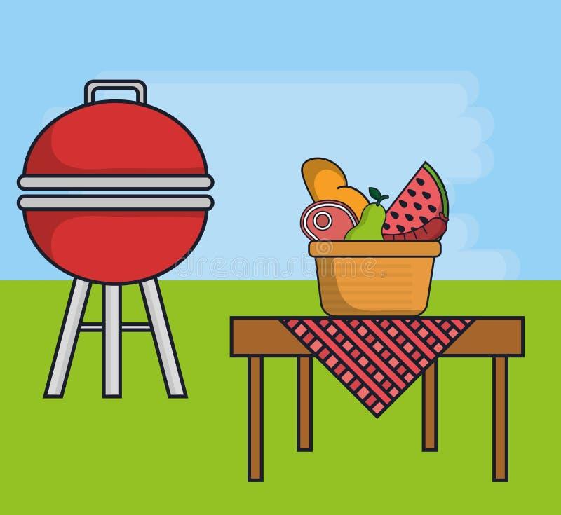 Grilla jedzenia i grilla ikona ilustracji