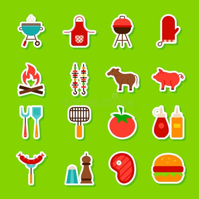Grilla jedzenia majchery ilustracji