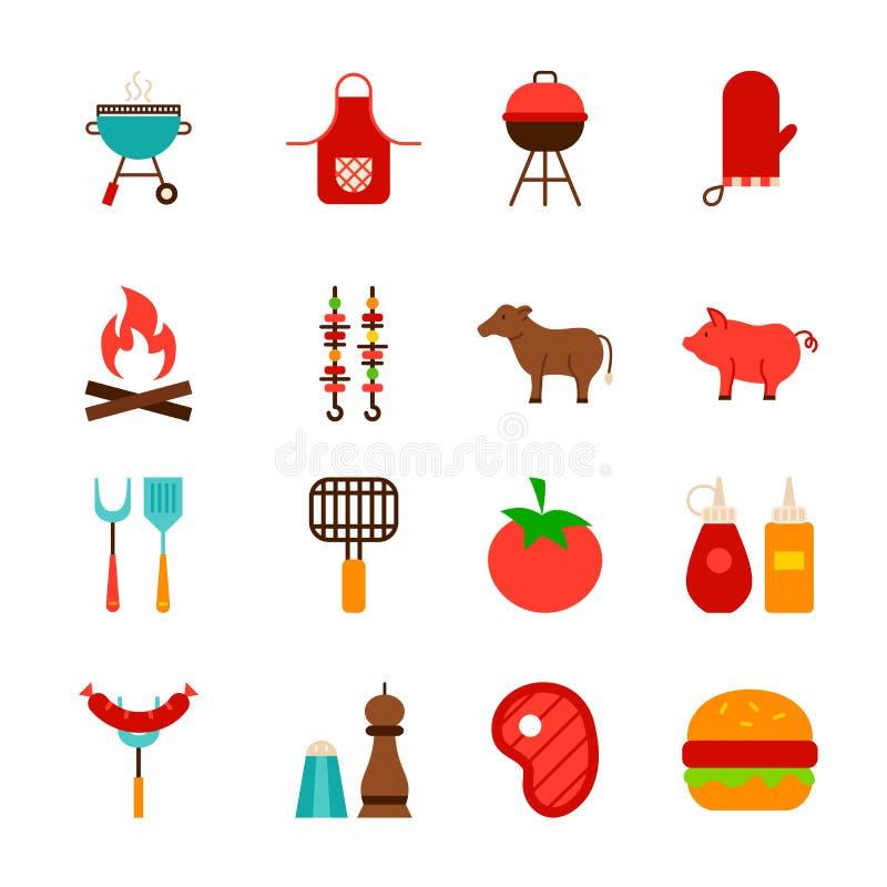 Grilla jedzenia przedmioty royalty ilustracja