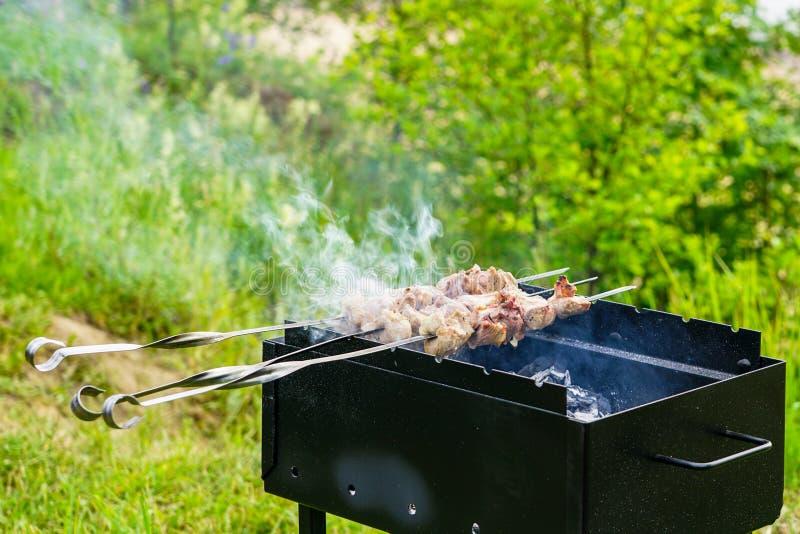Grilla kött på en steknål i en grillfest royaltyfria bilder