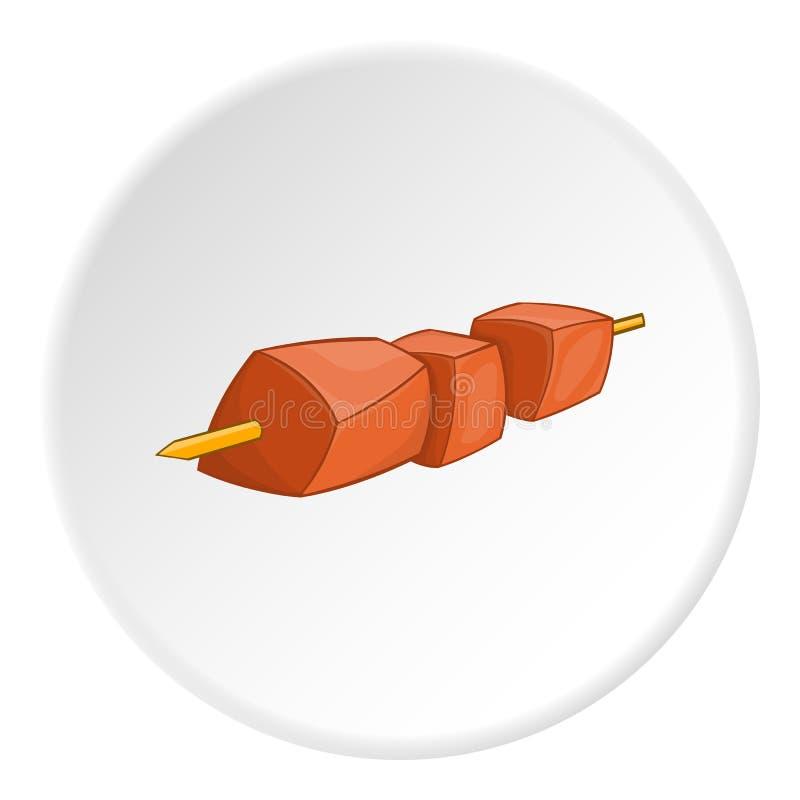 Grilla kebab na skewer ikonie, kreskówka styl royalty ilustracja