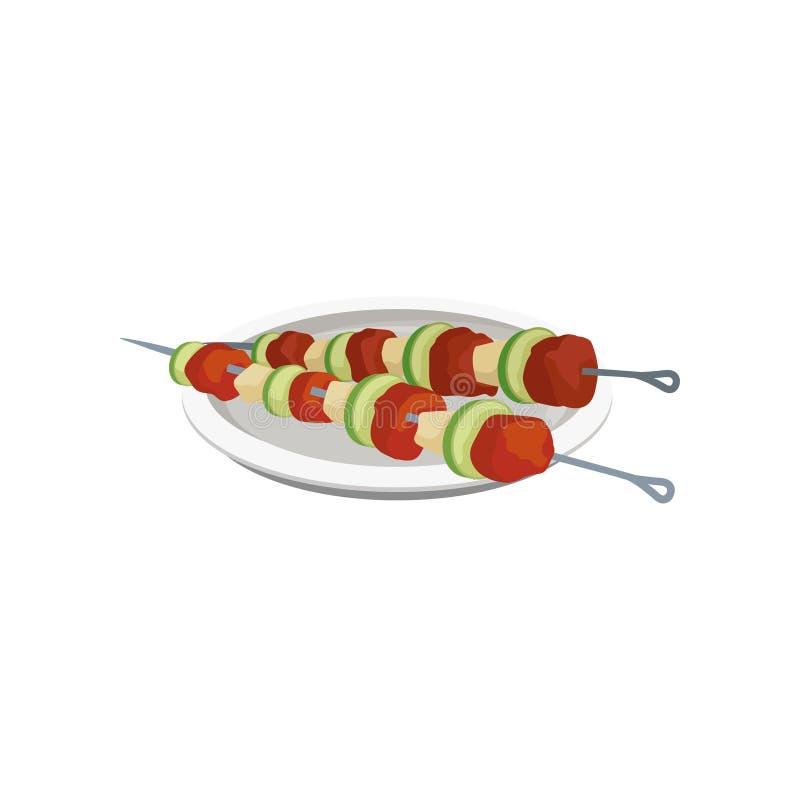 Grilla kebaber på steknålar på en platta, grillad köttvektorillustration på en vit bakgrund stock illustrationer