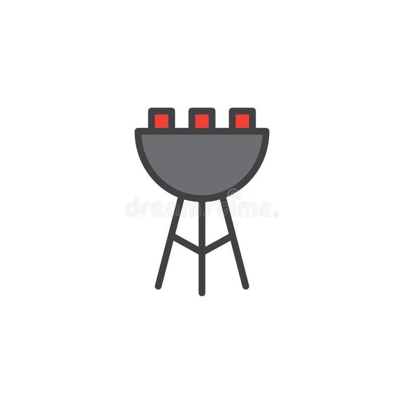 Grilla konturu grill wypełniająca ikona ilustracja wektor