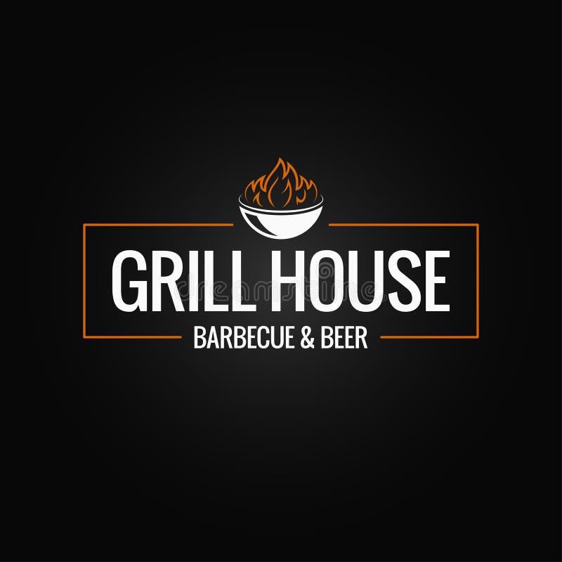Grilla loga granica BBQ i grilla ogień na czarnym tle ilustracja wektor
