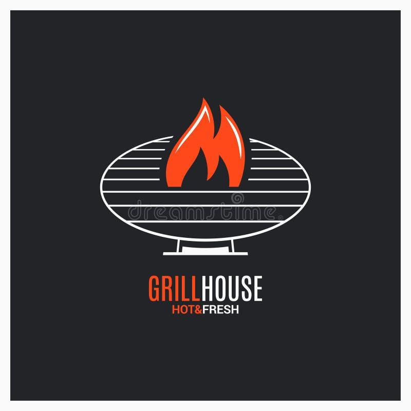 Grilla grilla logo BBQ z ogienia znakiem na czerni ilustracja wektor