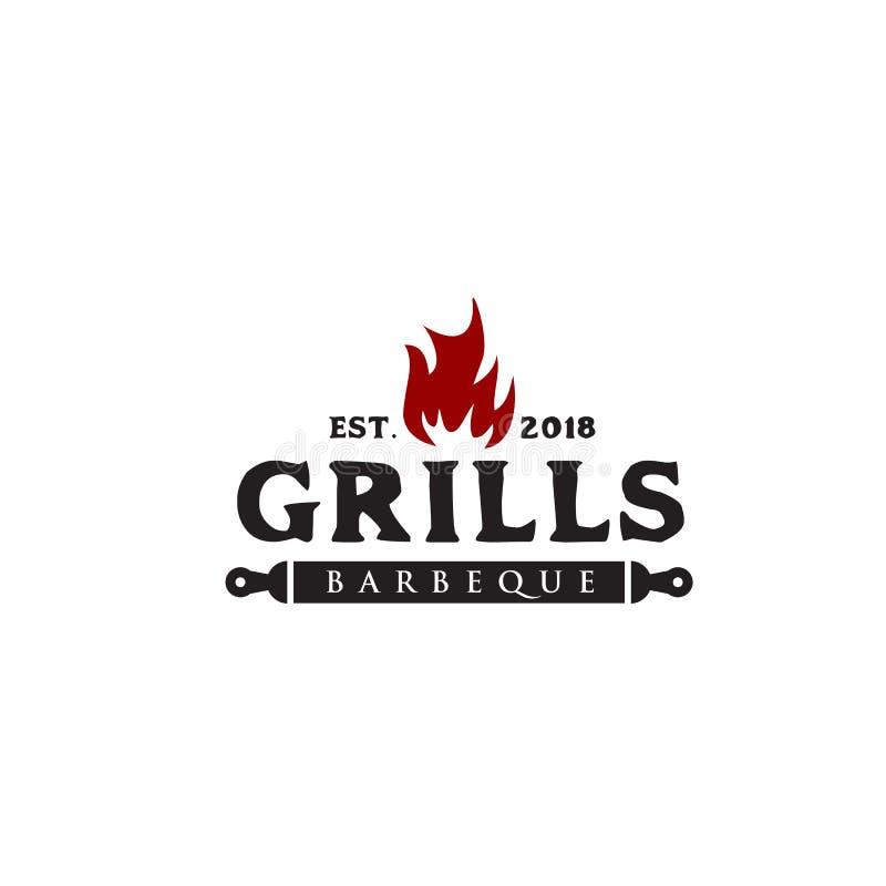 Grilla grilla logo projekta wektoru szablon ilustracja wektor