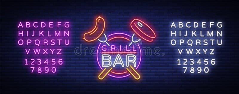 Grilla logo w neonowym stylu Wektorowa ilustracja dalej ilustracji
