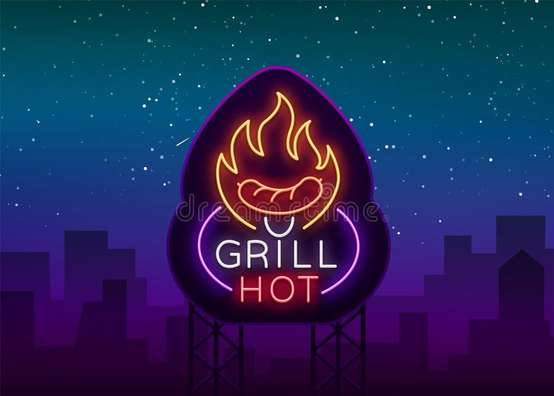 Grilla logo w neonowym stylu Wektorowa ilustracja na temacie jedzenie, mięso to samo Neonowy znak, jaskrawy symbol, grill ilustracji