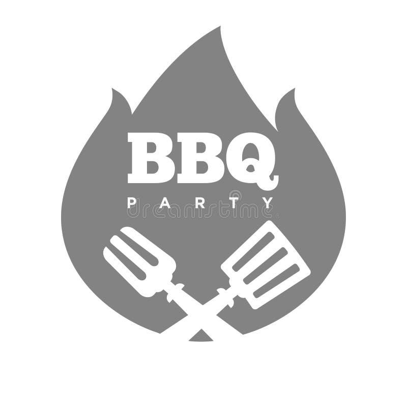 Grilla lub grilla przyjęcia ogienia płomienia wektoru ikona royalty ilustracja