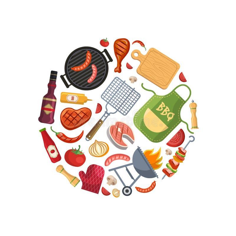 Grilla, grilla lub stku kucharstwo, ilustracji