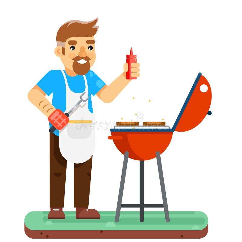 Grilla mężczyzna kucharza grilla mięsa projekta wektoru BBQ odizolowywająca płaska ilustracja ilustracji