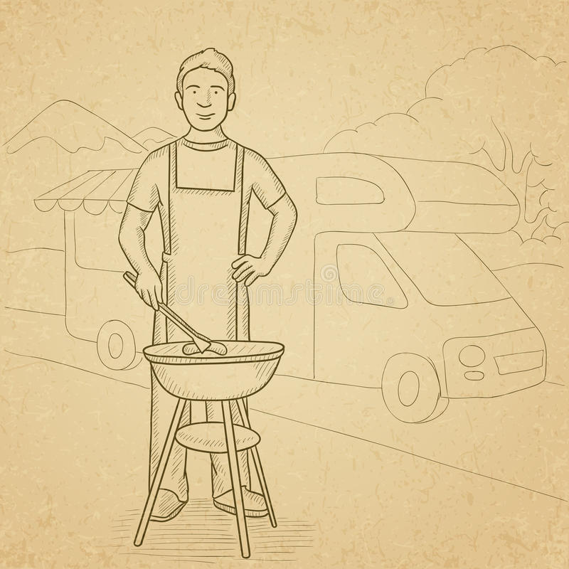grilla mężczyzna narządzanie ilustracji