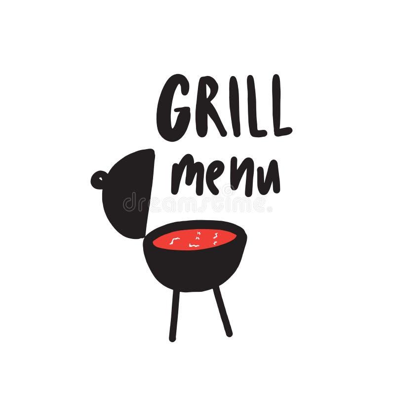 Grilla menu Śmieszna ręka rysujący plakatowy pojęcie Ilustracja grill ilustracja wektor