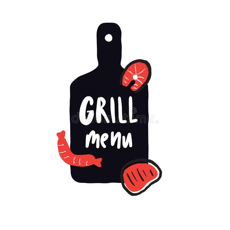 Grilla menu Śmieszna ręka rysujący plakatowy pojęcie Ilustracja tnąca deska, łosoś, kiełbasa, stek literowanie ilustracji