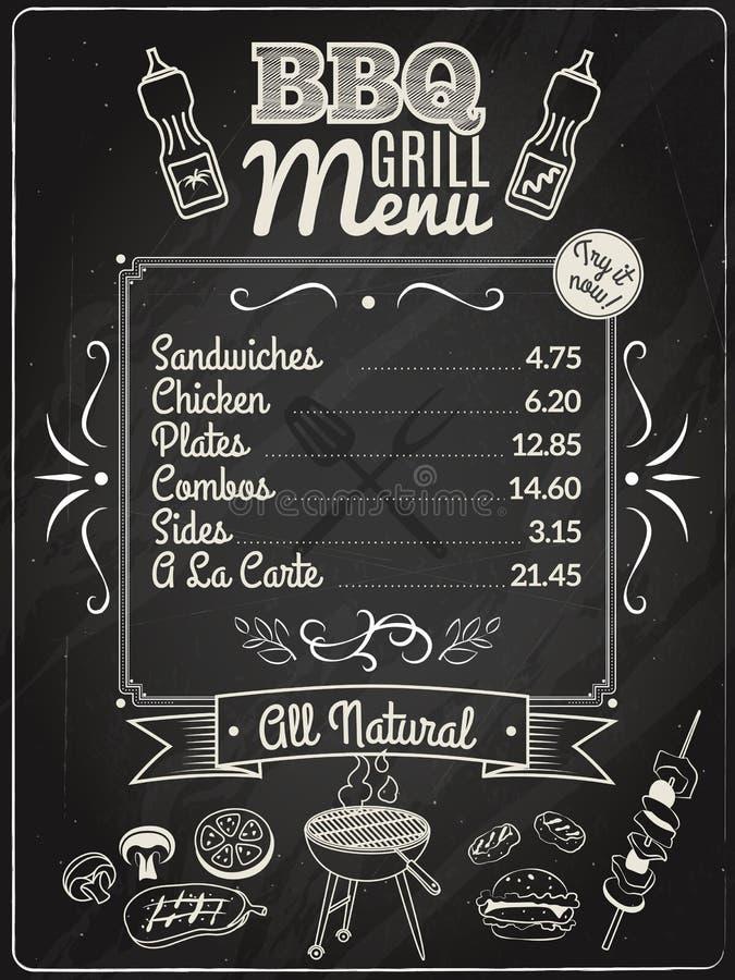 Grilla menu Chalkboard ilustracja wektor