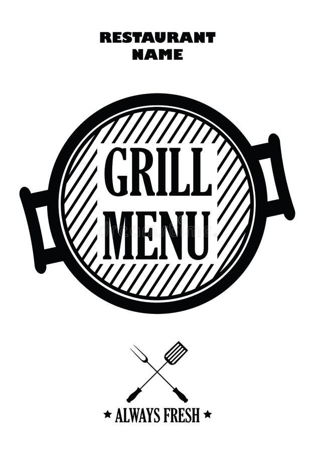 Grilla menu odizolowywający na białym tle,  ilustracji