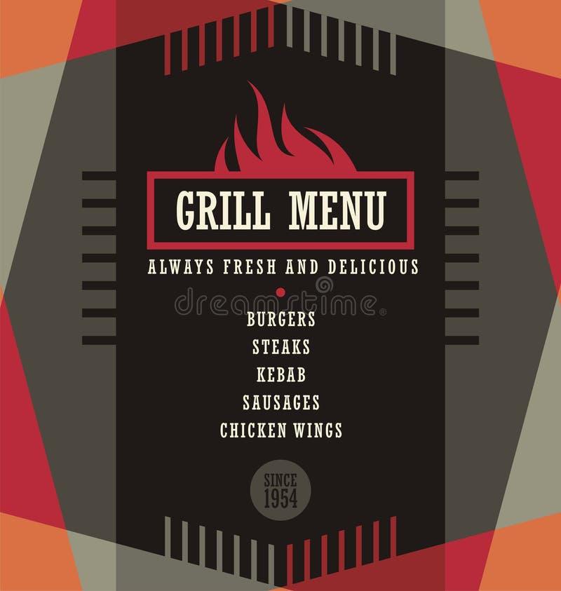 Grilla menu projekta szablon ilustracja wektor