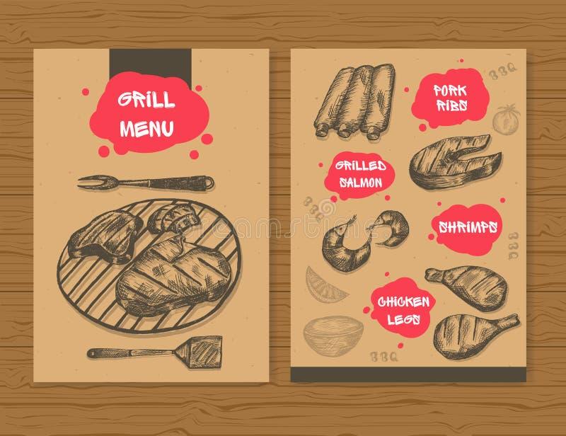 Grilla menu szablon Gotowy projekta BBQ menu dla restauraci, baru, etc, Ręka rysujący nakreślenie mięśni produkty również zwrócić royalty ilustracja