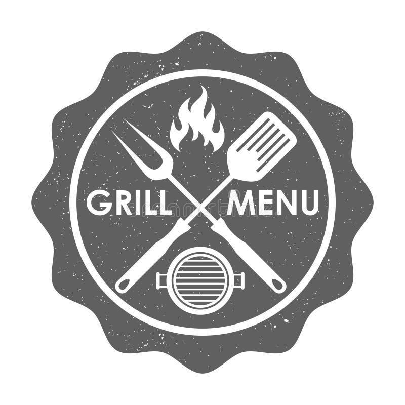 Grilla menu znaczek w grunge stylu royalty ilustracja