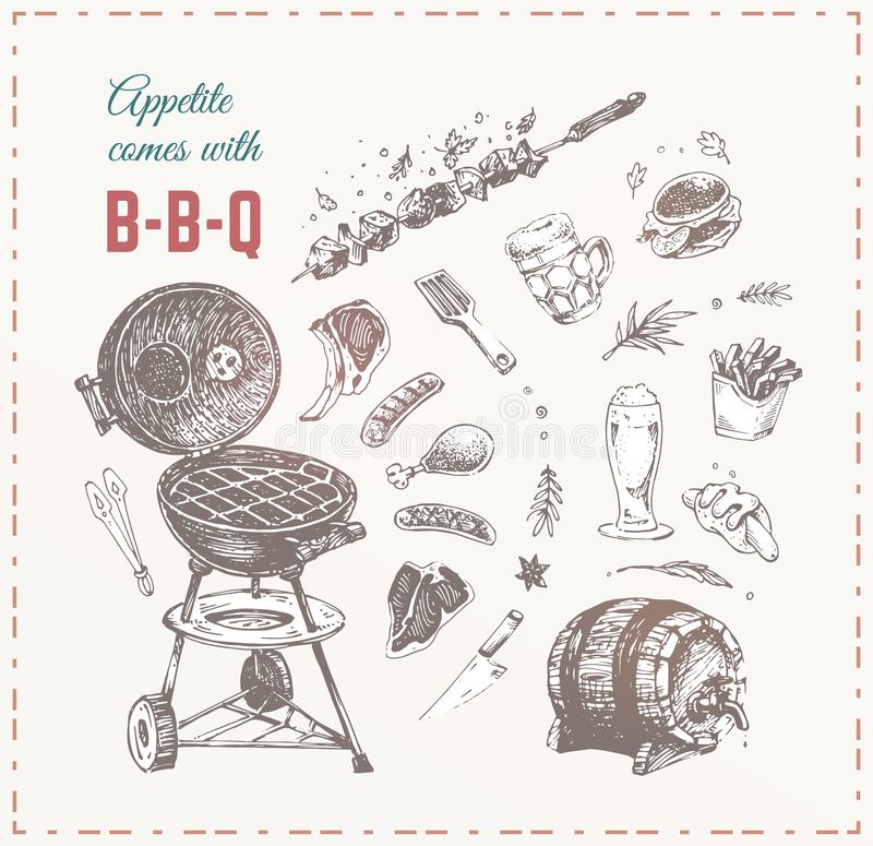 Grilla mięso, kiełbasy i piwna ręka rysujący wektor, ilustracja wektor