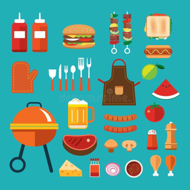 Download Grilla mieszkania ikona ilustracja wektor. Ilustracja złożonej z grilled - 57650323