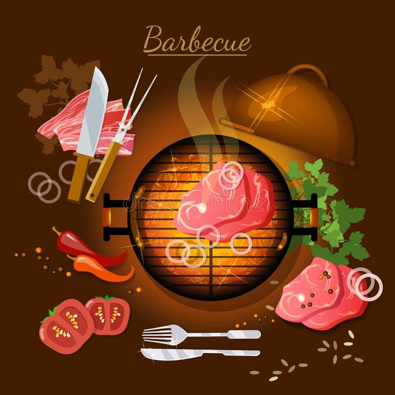 Grilla odgórnego widoku piec na grillu mięsny wektorowy illustrati ilustracja wektor