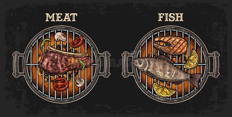 Grilla grilla odgórny widok z węgla drzewnego, ryby i wołowiny stkiem, pieczarka, pomidor, pieprz, szaszłyk, cytryna ilustracja wektor