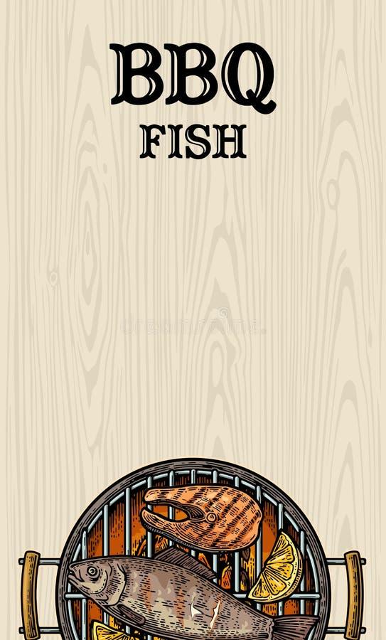 Grilla grilla odgórny widok z węglem drzewnym, rybim stkiem i cytryną, royalty ilustracja