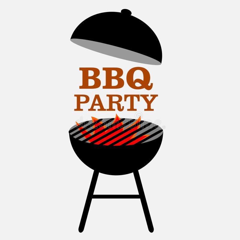 Grilla partiet, BBQ-parti med brandinbjudan arkivfoto