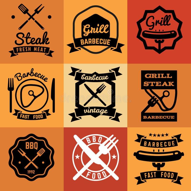 Grilla partyjnego rocznika wektorowi emblematy, etykietki, logowie dla BBQ stku plakatów royalty ilustracja