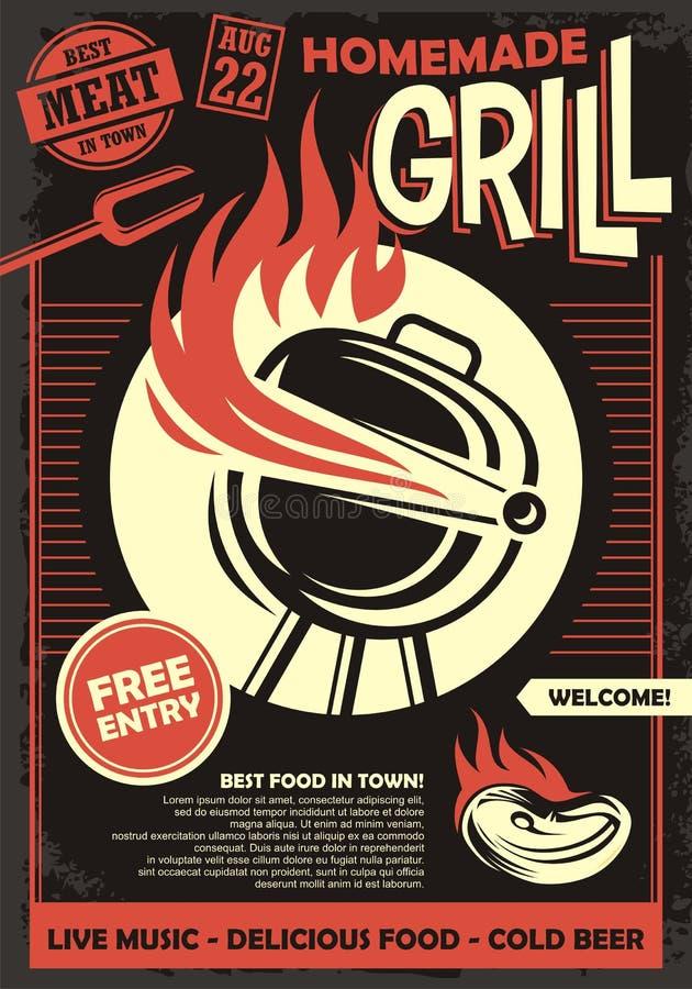 Grilla partyjny artystyczny zaproszenie lub plakatowy projekta szablon ilustracji