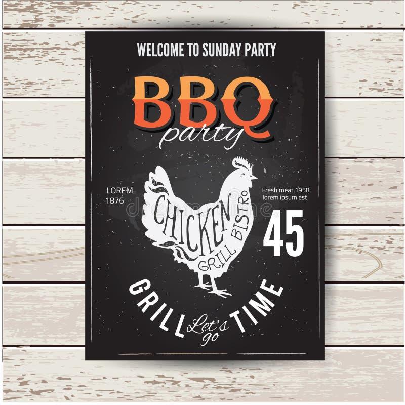 Grilla partyjny zaproszenie BBQ broszurki menu projekt ilustracji