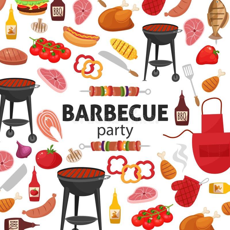 Grilla partyjny zaproszenie BBQ szablonu menu projekt Karmowa ulotka ilustracja wektor
