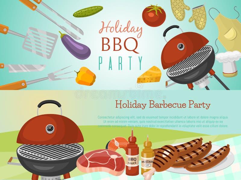 Grilla pinkinu przyjęcia sztandaru mięsny stek piec na round grilla grilla wektoru gorącej ilustracji Bbq w parku, sztandar ilustracji