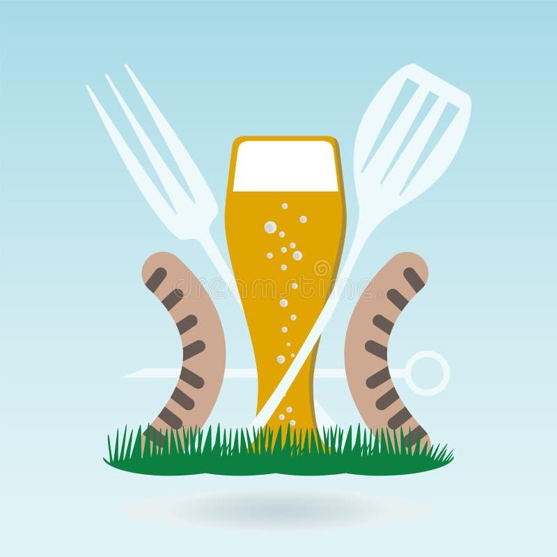 Grilla piwo Piec na grillu kiełbasy na rozwidleniach royalty ilustracja