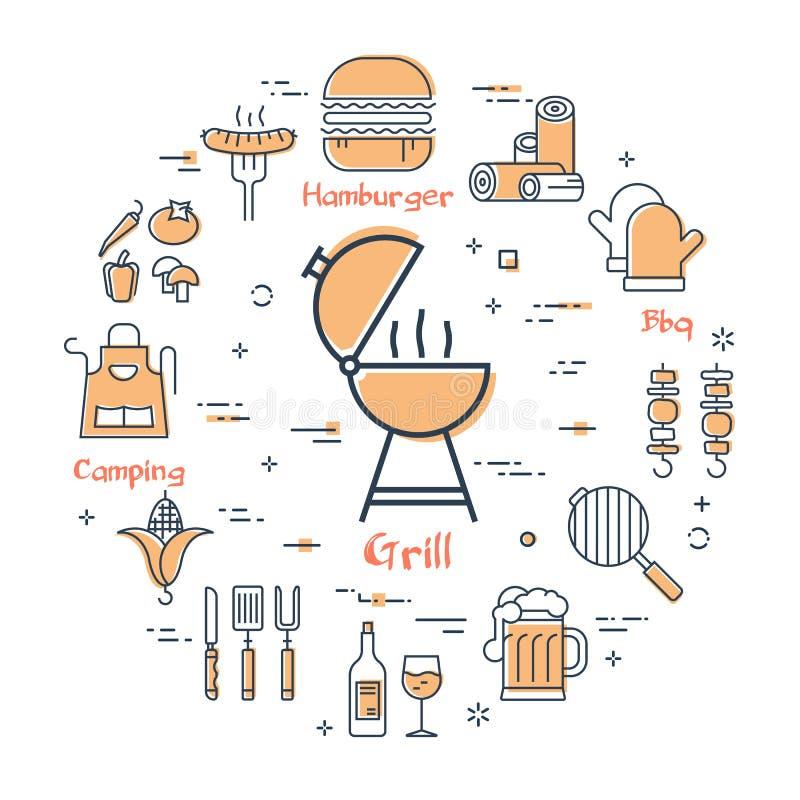 Grilla pojęcie - grill royalty ilustracja