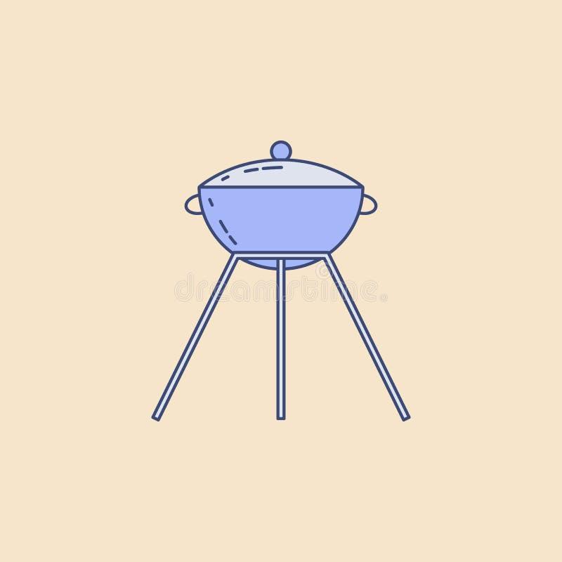 grilla pola konturu ikona Element plenerowa rekreacyjna ikona dla mobilnych pojęcia i sieci apps Śródpolna konturu grilla ikona m ilustracji